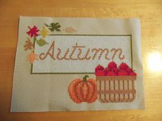 Autumn Cross Stitch by TheOrangeFrog on Etsy, $15.00. Would be super cute framed and hanging up!