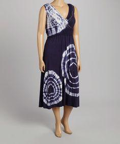 Another great find on #zulily! Navy Tie-Dye Rhinestone Surplice Dress - Plus #zulilyfinds