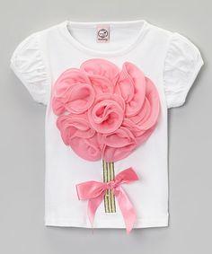 Another great find on #zulily! White & Pink Flower Bow Tee - Toddler & Girls #zulilyfinds