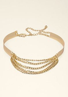 Chain Swag Belt - High-shine, chainlink belt anchored by a back metal plate. New Fashion Clothes, Fashion Outfits, Chain Belts, Chic, Trendy Outfits, Swag, Metal, Bracelets, Jewelries