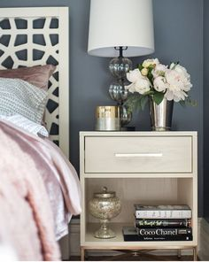Bedroom Nightstand Decor Ideas - All For Decoration Bedroom Table, Home Bedroom, Bedroom Furniture, Bedroom Decor, Bedroom Lighting, Bedroom Ideas, Master Bedroom, Design Bedroom, Bedroom Themes