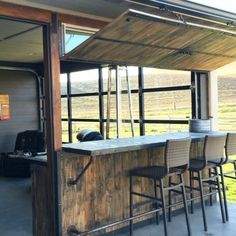 DIY man cave decorations - awesome man cave ideas on a budget - Indoor Outdoor Bar idea for your home - convert your garage into a home bar with outdoor seating that opens to the outside too Man Cave Garage, Man Cave Basement, Man Cave Shed, Basement Office, Basement Layout, Man Cave Diy, Man Cave Home Bar, Cave Bar, Diy Outdoor Bar
