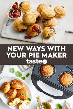 Who loves pie makers? We love pie makers! This versatile appliance is a total lifesaver when you need to cook something in a flash. Forget pies, it's all about muffins, frittatas, cakes, sausage rolls and dumplings. Mini Pie Recipes, Puff Pastry Recipes, Vegetarian Recipes, Cooking Recipes, Skillet Recipes, Cooking Tools, Breville Pie Maker, Enchiladas, Baking Snacks