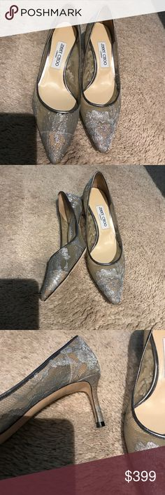 Jimmy choo kitten heel silver shoes Worn once new condition. Jimmy Choo Shoes Heels