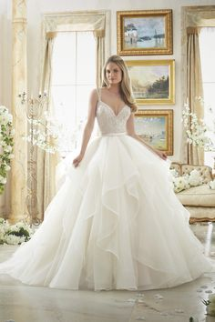 Wedding Dresses, Bridesmaid Dresses, Prom Dresses and Bridal Dresses Mori Lee Wedding Dresses - Style 2887 [2887] - Mori Lee Wedding Dresses, Fall 2016. Wedding Dress 2887: Dazzling Beaded Bodice on Flounced Tulle and Organza Ball Gown
