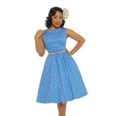 'Audrey' Blue Dream Polka Dot Swing Dress