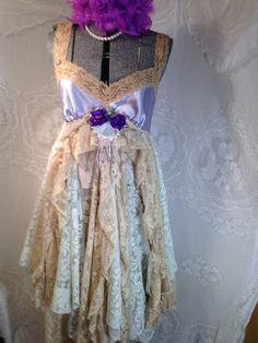 Upcycled clothing Slip Dress Vintage Slip Dress Boho by Intrigues, $159.99