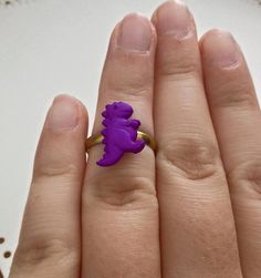 Mini Purple T-Rex Dinosaur Ring by LifeCouldBeSweet on Etsy