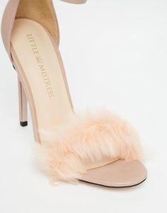 Little Mistress   Little Mistress Monroe Faux Fur Ankle Strap Heeled Sandals at ASOS