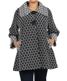 Look at this Black & White Circle Swing Coat - Plus on #zulily today!