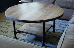 Round Industrial Coffee Table w/ Shelf by sumsouthernsunshine