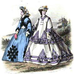 1863.  Le Moniteur de la mode.  How many arrows equal chaos?  Interesting large-scale interlaced triangle border.