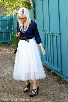 Navy, Black, & Cream, tulle skirt, chevron infinity scarf