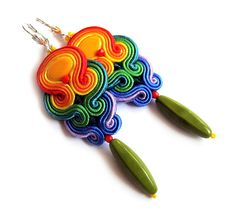 Multicolor RAINBOW soutache earrings colorful by SaboDesign, $49.00
