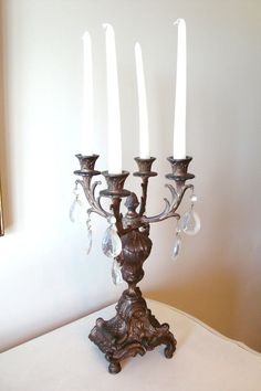 Vintage French Victorian Spelter Candelabra with by edithandevelyn, $95.00...Love this shop!