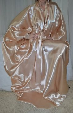 so sweet . Satin Nightie, Satin Lingerie, Satin Gown, Satin Dresses, Silk Satin, Women Lingerie, Gowns, Satin Dressing Gown, Silk Stockings