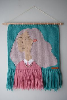 Weaving Art of People and Flowers by Olive And The Boy Weaving Textiles, Weaving Art, Loom Weaving, Tapestry Weaving, Weaving Wall Hanging, Teen Hairstyles, Casual Hairstyles, Medium Hairstyles, Braided Hairstyles