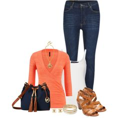 Coral/Cognac/Navy by mcsp on Polyvore