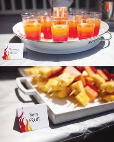 Flaming Jello (Red, Orange & Yellow) --- could do ice cubes in sprite?? Flaming fruit squewers (Pine apple, cantaloup & Watermelon)