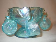 miniature carnival glass punch bowl set -