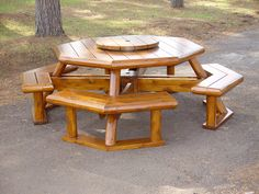 1000 images about picnic table on pinterest octagon for Rustic picnic table plans