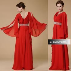 Red Long Sleeve Roaring 20 Style Mother of the Bride Evening Gown Dress SKU-1040245
