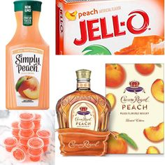 Recipe for Peach Jello Shots with Crown Royal Peach Peach Jello Shots, Peach Drinks, Summer Drinks, Summer Jello Shots, Peach Alcohol Drinks, Malibu Jello Shots, Bbq Party, Party Drinks, Cocktail Drinks