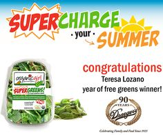 Congratulations to the winner of our 'Win Free Greens for a Year' contest! @organicgirl