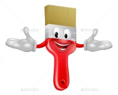 d001fdcb440 Buy Paint Brush Mascot by Krisdog on GraphicRiver. An illustration of a  cute happy red cartoon paint brush character mascot