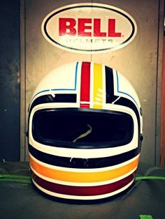 Bell full face custom helmet.