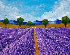 Lavendelfeld der ursprünglichen Acrylmalerei 203 von MikeKrausArt