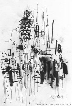 London street Sketch, the Gherkin from Liverpool Street station entrance. www.jamesabellart.com October 2012.