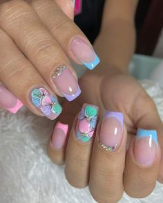 Violet Nails, Gray Nails, Floral Nail Art, Pink Nail Art, Cute Nails, Pretty Nails, Grey Nail Designs, Mani Pedi, Hair And Nails