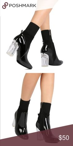 489d34343a5 CAPE ROBBIN Feel-1 Translucent Lucite Heel Boots These quirky boots are  made with a
