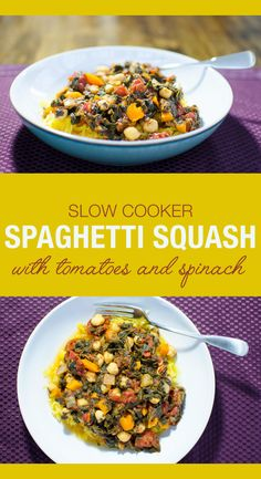 Slow Cooker Spaghetti Squash with tomatoes and spinach | VeggiePrimer.com  #vegan #glutenfree #slowcooker