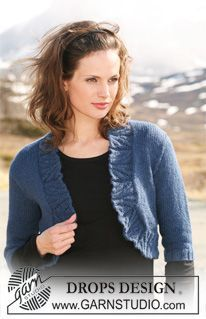 "DROPS Bolero in ""Classic Alpaca"" with ¾ sleeves. Size S – XXXL. ~ DROPS Design"