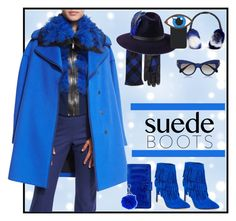 """""""Style Staple: Suede Boots"""" by yours-styling-best-friend ❤ liked on Polyvore featuring Beats by Dr. Dre, Études, Eugenia Kim, Elie Tahari, Steve Madden, Penmayne of London, Maison Michel, Miu Miu and Yazbukey"""