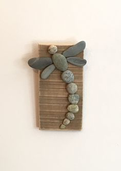 """One Rock Dragonfly on Driftwood- 6""""x3"""""""