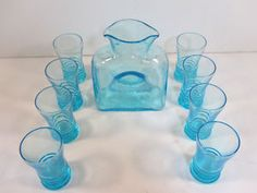 Vintage depression glass double-spout water pitcher and glasses by Blenko -- cute set!