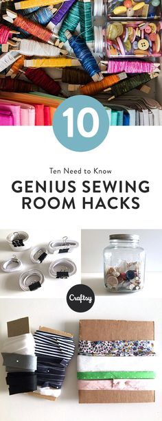 These 10 genius tips will keep your sewing room organized and clean. Use items around your house for cheap supply storage solutions!