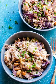 Peanut Butter Rice with Cruciferous Vegetables - Peanut rice with red cabbage, cauliflower, tofu and peanut butter sauce with ginger, garlic and mango.   ifoodreal.com