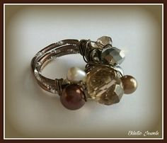 Handmade freshwater pearls and crystals  ring