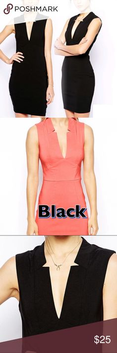 Tall ASOS Deep V Little Black Dress Amazingly structured to fit all your curves. Great condition, worn once. Tall brand at ASOS. Will post actual pics asap. ASOS Dresses
