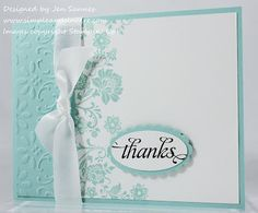 Stampin' Up! SU by Jen Sannes, Simple & Sincere  Stamps: Fresh Vintage, Kind Thanks  Paper: Pool Party, Whisper White  Ink: Pool Party, Basic Black  Accessories: Big Shot, Finial Press embossing folder, Large Oval punch, Scallop Oval punch  Beautiful card, Jenn