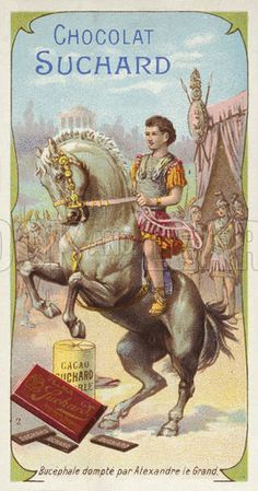 Bucephalus tamed by Alexander the Great. Educational card, late 19th or early 20th century.- European School - chromolithograrph
