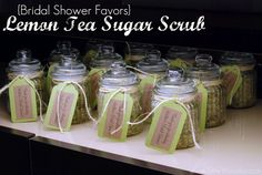 {Bridal Shower Favors} Lemon Tea Sugar Scrub via SewWoodsy.com