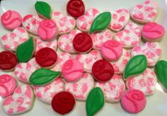 Hearts and Roses - Decorated Sugar Cookies by I Am The Cookie Lady