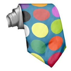 Blue and COlorful Polka dots tie Neck Ties