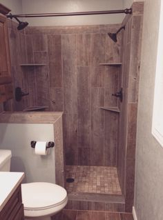 Wood look tile, double shower heads
