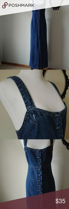 """Vtg 80's 90's grunge overall maxi denim jumper mom Awesome denim jumper from The Limited.  It is in good used condition.  I did notice a couple of spots but they are not really noticable unless you look closely (see pics).  It is 100% cotton and was made in Hong Kong. It has a sexy slit up the back.  Wear with a belt, flannel, and combat boots for a grudge look; or pair with a floral shirt and ballet flats for a romantic look.  Approximate measurements: Bust - 33"""" Waist - 36"""" Hips - 38""""…"""